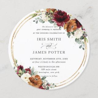 Orange Burgundy Ivory Floral Gold Greenery Wedding Invitation
