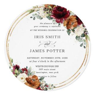 Orange Burgundy Ivory Floral Gold Greenery Wedding Invitations