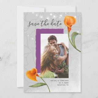 Orange Calla Lily Photo Save the Date Invitations