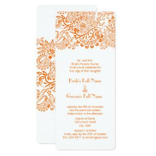 Orange Coral Love Bird Wedding Invitation