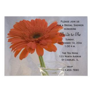 Orange Daisy in Vase Bridal Shower Invitations