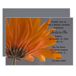 Orange Daisy on Gray Bridal Shower Invitations