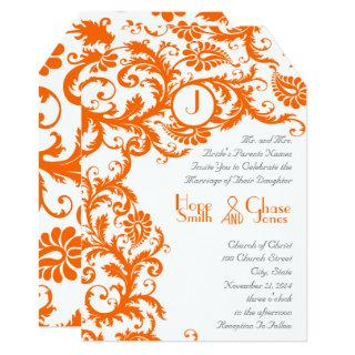 Orange Damask Coral Monogram Wedding Invitations