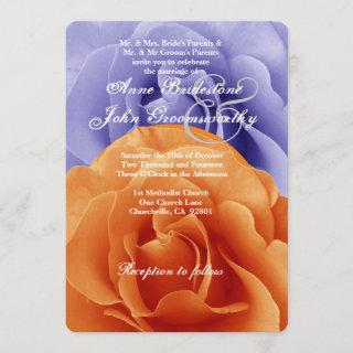 Orange Flame and Purple Rose Wedding Template A5