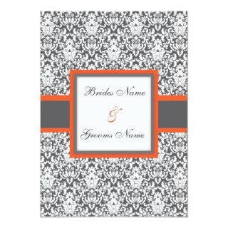 Orange Floral Damask Wedding Invitation
