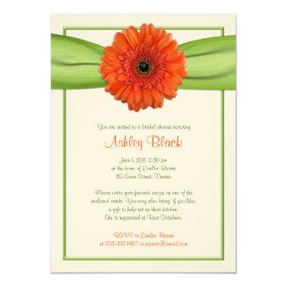 Orange Gerber Daisy Green Bridal Shower Invitations