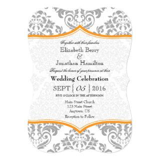 Orange Gray Damask Bracket Wedding Invite