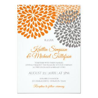 Orange & Gray Wedding Invitations | Floral & Fun