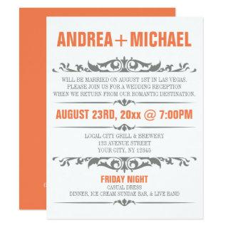 Orange & Gray Wedding Reception ONLY Invitations