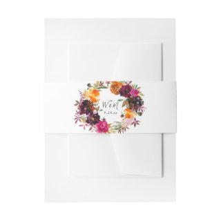 Orange, Hot Pink, & Purple Fall Floral 2  Belly Band
