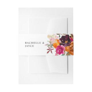 Orange, Hot Pink, & Purple Fall Floral 4  Belly Band