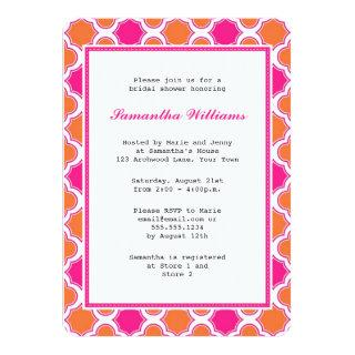 Orange & Hot Pink Quatrefoil Pattern Bridal Shower Invitations