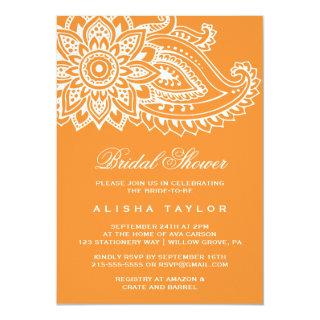 Orange Indian Paisley Bridal Shower Invitation