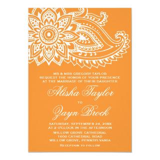 Orange Indian Paisley Formal Wedding Invitation