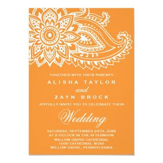 Orange Indian Paisley Wedding Invitation