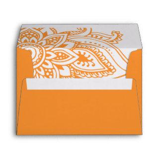 Orange Indian Paisley Wedding Invitation Envelope