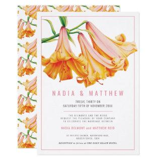 Orange lily flower watercolor wedding Invitations