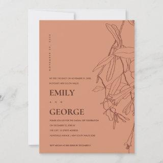 ORANGE LINE DRAWING FLORAL WE TIED THE KNOT INVITE