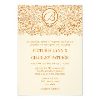 Orange Love Birds Reflections Wedding Invitations