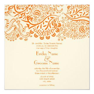 Orange Love Birds Wedding Invitation