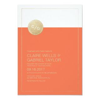Orange minimalist modern wedding Invitations