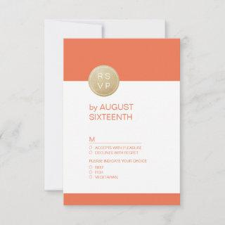 Orange minimalist modern wedding RSVP