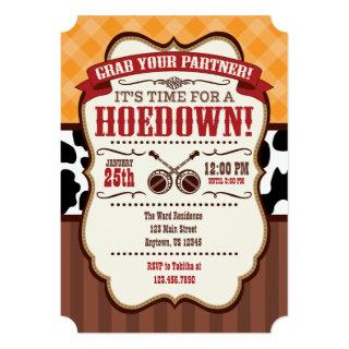 Orange Red Brown Hoedown Party Invitations
