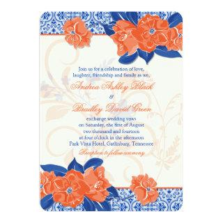 Orange Royal Blue Floral Wedding Invitations