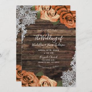 Orange Spice Floral Roses Rustic Wood Lace Wedding Invitations