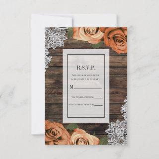 Orange Spice Roses Rustic Wood Lace RSVP Reply Invitations