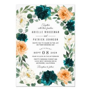 Orange Teal Turquoise Blue Elegant Floral Wedding Invitations
