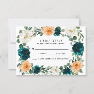 Orange Teal Turquoise Blue Wedding RSVP Cards