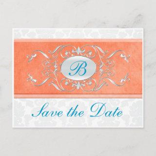 Orange, Turquoise, and Gray Damask Save the Date Announcement Postcard