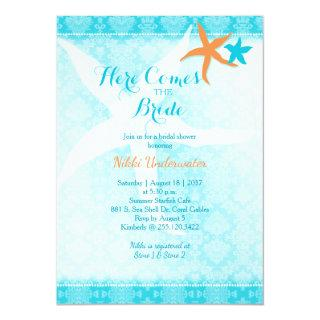 Orange Turquoise Summer Starfish Bridal Shower Invitation