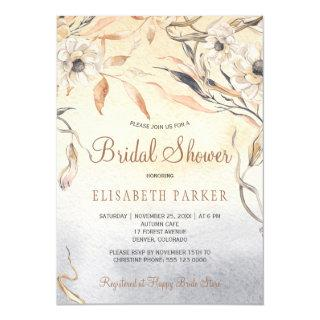 Orange watercolor washed dahlias bridal shower invitation