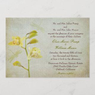 """""""Orchids and Dragonflies"""" Wedding Invite"""