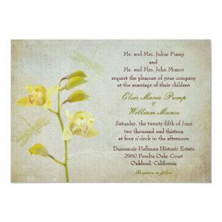 """Orchids and Dragonflies"" Wedding Invite"