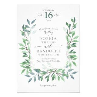Organic Woodland Vintage Wreath Invitations