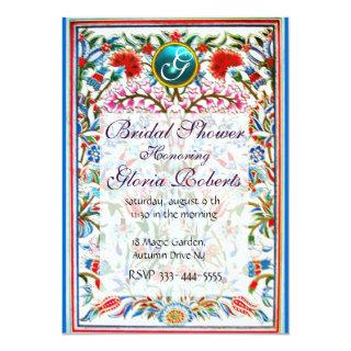 ORIENTAL  FLOWERS DAMASK MONOGRAM Blue Aquamarine Invitation