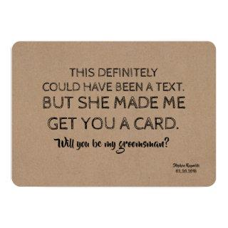 Original Creative and Funny GROOMSMAN Invitation