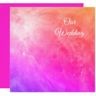 Orion Nebula Cosmic Orange Pink Ombre Wedding Invitations