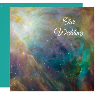 Orion Nebula Cosmic Turquoise and White Wedding Invitation
