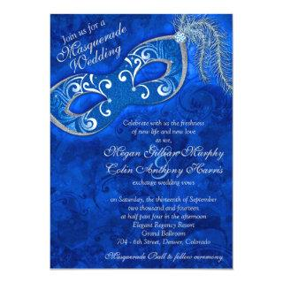 Ornate Cobalt Blue Silver Masquerade Ball Wedding Invitations