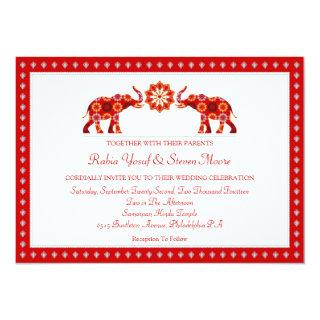 Ornate Elephants Wedding Invitations