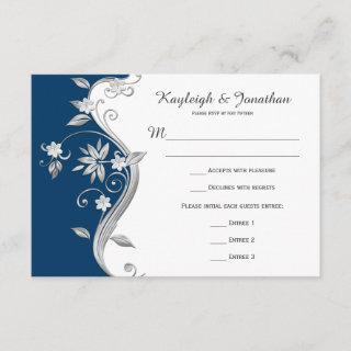 Ornate Navy Blue White Silver Flowers RSVP