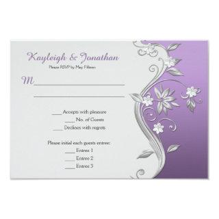Ornate Purple and Silver Flowers Swirls Menu RSVP Invitation