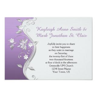 Ornate Purple and Silver Flowers Swirls Wedding Invitation