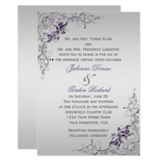 Ornate Purple Silver Floral Swirls Weddings Invitation