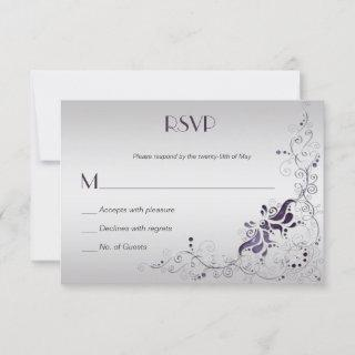 Ornate Purple Swirls on Silver RSVP