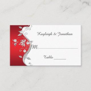 Ornate Red Silver White Flowers Place Cards